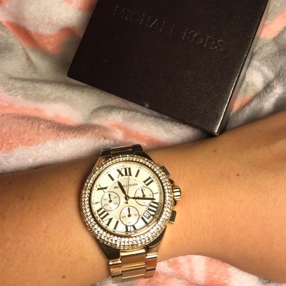 660753c9dc41 Michael Kors Women s Camille Glitz Gold-Tone Watch.  M 5caee1f0fe19c7c67d3cb23e